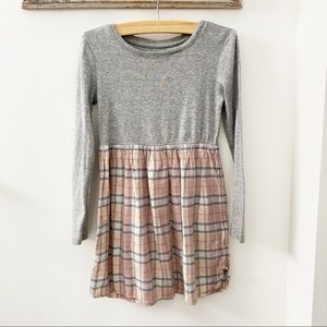 Gap Gray Pink Purple Long Sleeve Plaid Dress Small